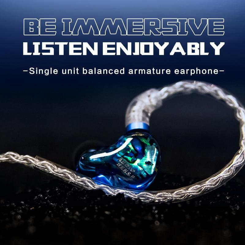 Внутриканальные наушники AUDIOSENSE DT100 HiFi Stereo Knowles с одинарным сбалансированным якорем, наушники со съемным кабелем MMCX, полимерная оболочка для ...