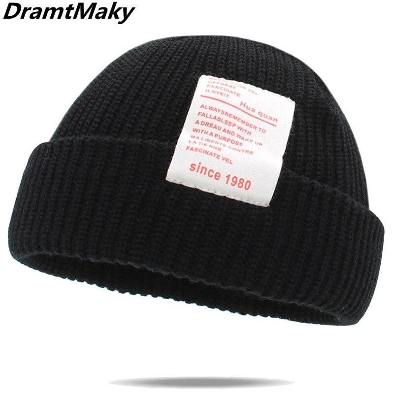 Since 1980 Women's Winter Hats For Women Knitted Cuffed Short Melon Cap Beanie Hat Bonnet Beanies Autumn Gorro A Winter Hat New