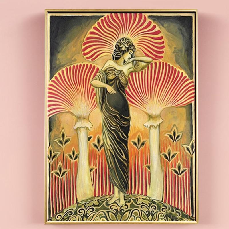 Peintures sur toile de la déesse Soma païenne, affiche imprimée de la mythologie, champignon psychédélique, bohémien, tableau mural pour la décoration de la maison