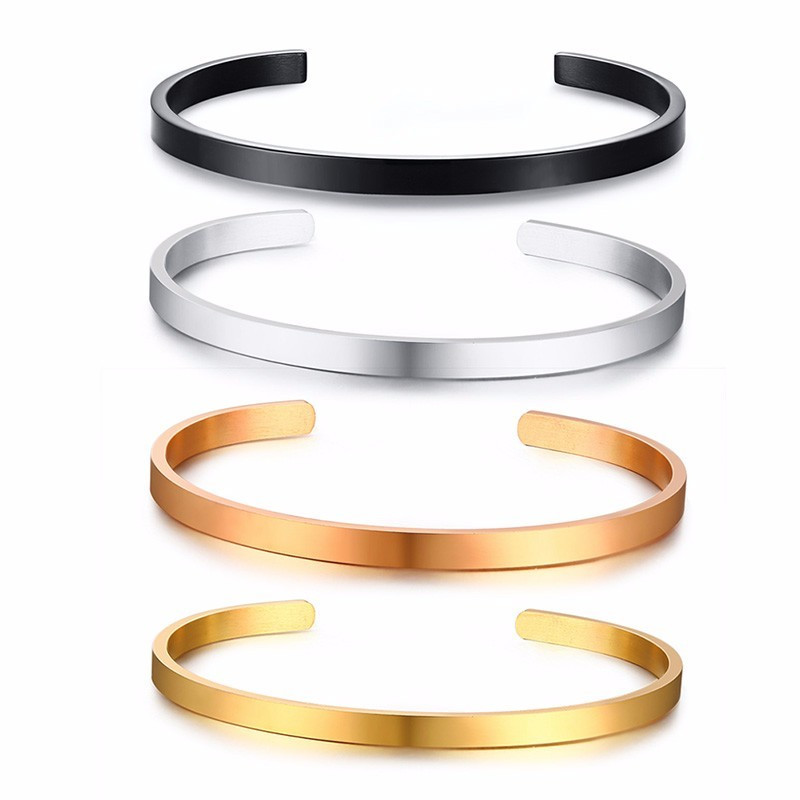 ZORCVENS 2020 New 4mm Cuff Bangle Stainless Steel Men Cuff Bracelet for Man Woman Fashion Jewelry Wholesale