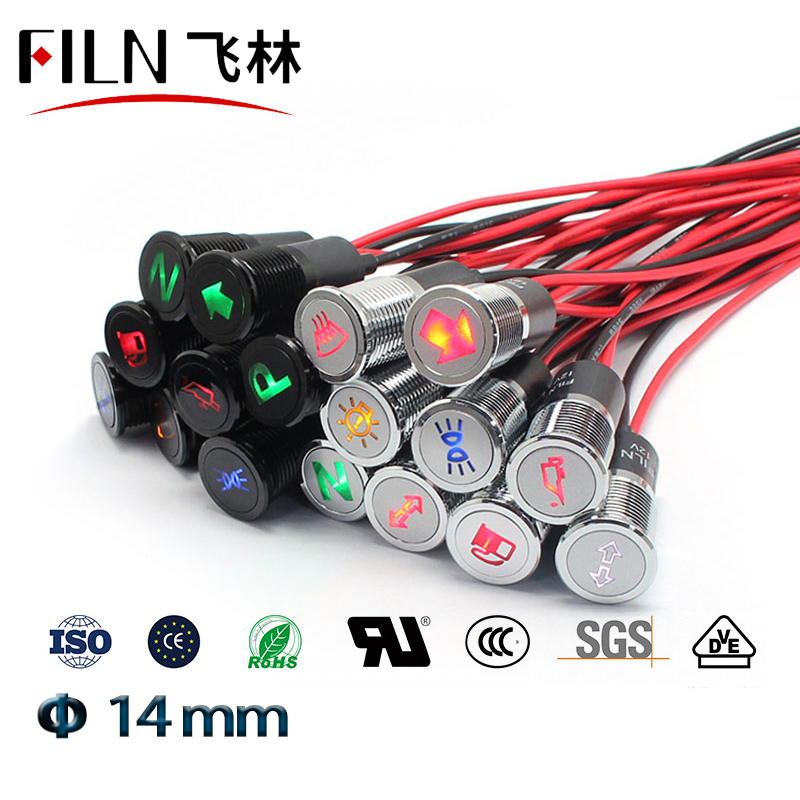 FILN 14mm Black Shell Led Red Yellow Blue Green Car Applicance Symbol 12v Led Indicator Light With 20cm Cable