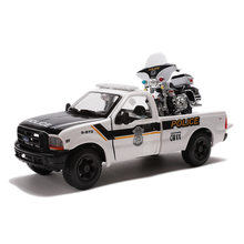 Best selling 1:24 Ford F350 police pickup+Harley-Motor alloy model,simulation diecasting model,collection of gifts,free shipping(China)