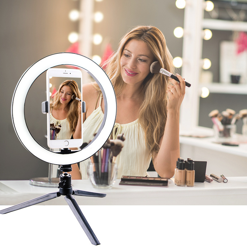 cheapest LED Ring Fill-Light Lamp Selfie Camera Phone Studio Tripod Stand Video Dimmable With Phone Holder Led Photo Video Photography