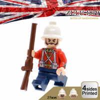 Limitada anglo zulu guerra soldados figuras grã-bretanha exército britânico infantaria moc personalizado militar blocos de construção tijolos brinquedos