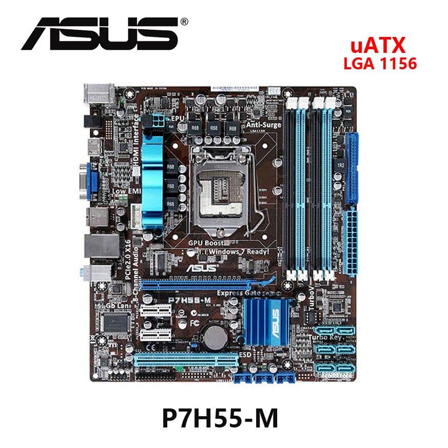 Used ASUS P7H55-M Intel H55 UATX  Motherboard Desktop Board Mainboard Socket  LGA 1156  MSATA
