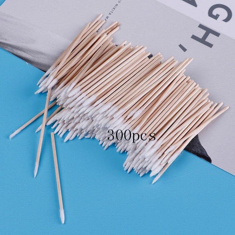 300pcs Cotton Buds Swabs Handle Wooden Handle Tattoo Makeup Microblade Cotton  Sticks
