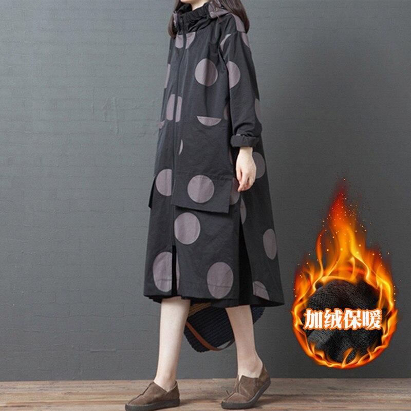 2020 NEW Long Windbreaker Coat Women's Autumn Winter Clothing Retro Loose Large Size Printing Hooded Plus Velvet Jackets XA423