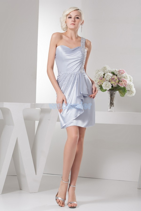 Free Shipping 2016 New Design Hot Seller Custom Size/color Formals Brides Maid Dresses One Shoulder Short Beading Evening Dress