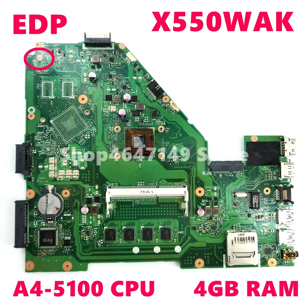 X550WAK Motherboard A4-5100 CPU 4GB RAM For ASUS X550W X550WE D552W X550WA X550WAK Laptop Mainboard X550WAK Mainboard Test 100%