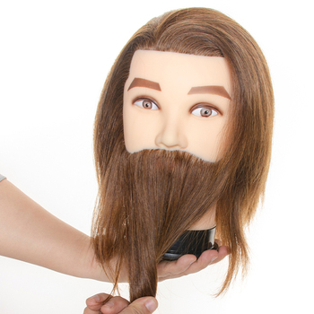 100% Male Real Human Hair Mannequin Practice Training Head With Beard For Cutting Hairdressing Manikin Head For Beauty School advanced full function nursing manikin male bix h135 w189