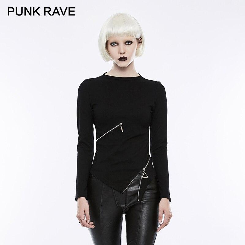 PUNK RAVE gothique taille Zipper col montant hauts noirs Stretch tricoté femmes Punk Rock T-shirt à manches longues Crop hauts chemise