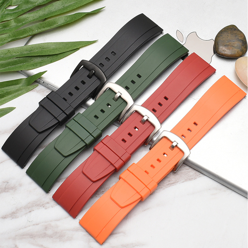 Onthelevel Fluororubber Watch Strap 20 22mm Silicone Rubber Bracelet Quick Release Spring Bar Watchband For Each Watch Brand #E