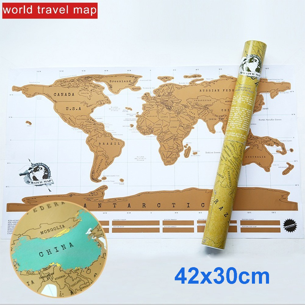 Deluxe Colorful Scratch Off Travel World Map Personalized Ornament Room Home Decoration Wall Stickers Office Supplies Kids Gift