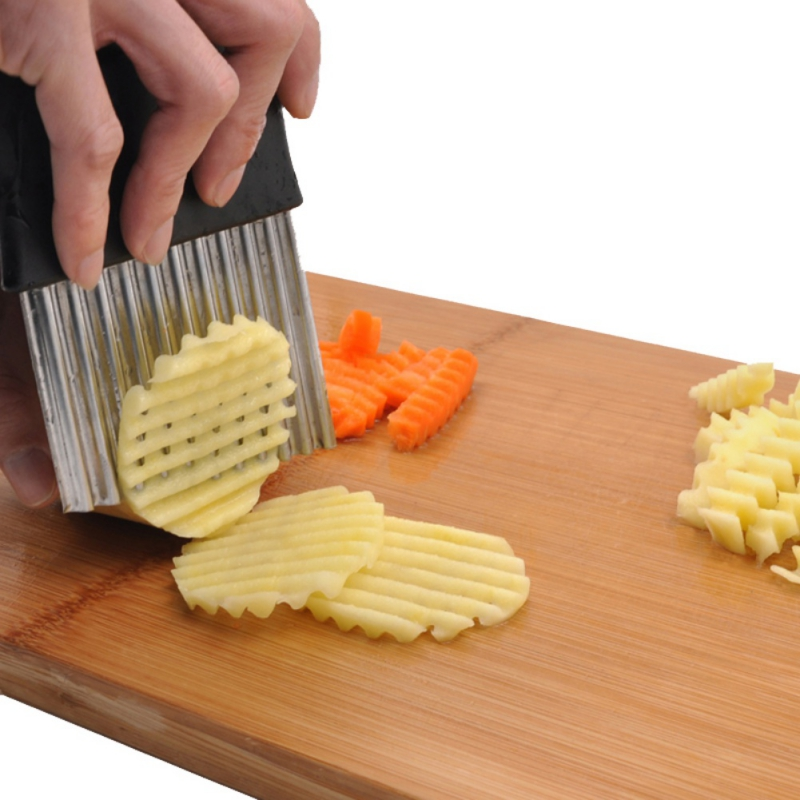1 pièces frites frites frites trancheuse tranchante légumes fruits déchiqueteuse couteau outil pomme de terre ondulé cuisine éplucheur faisant Cutter - 3