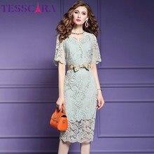 TESSCARA Women Summer Elegant Lace Dress Festa High Quality V-neck Cocktail Party Robe Femme Vintage Designer Pencil Vestidos