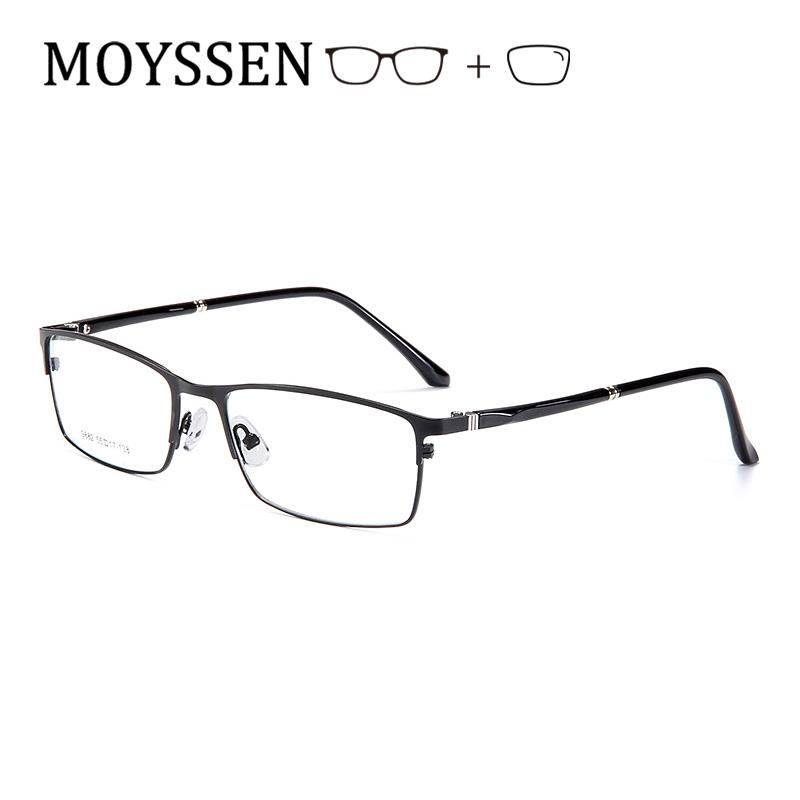 Classic Formal Business <font><b>Men</b></font> <font><b>Prescription</b></font> <font><b>Glasses</b></font> Big Optical Metal Rectangular Myopia Presbyopia <font><b>Progressive</b></font> Eyeglasses for Male image