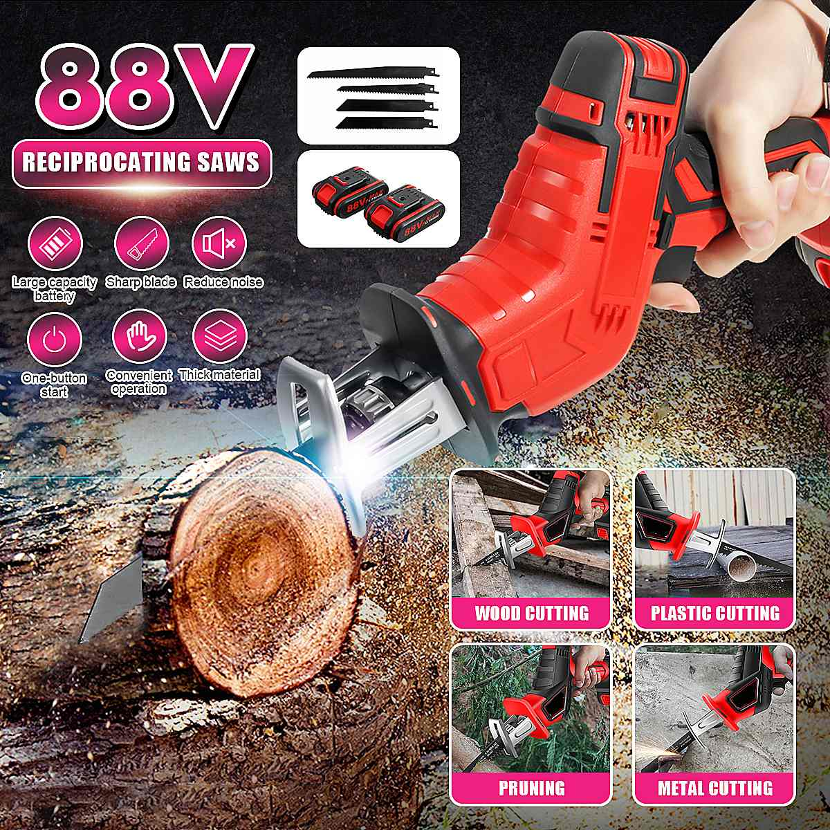 Doersupp 88V 1/2Lithium Battery Charging Reciprocating Saw PVC Pipes Wood Metal Cutter +4 Saw blades Metal Woodworking Cutters