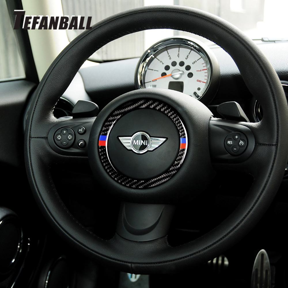 Car Interior Auto Steering Wheel Center Carbon Fiber Sticker Decoration Cover Ring For Mini Cooper R55 R56 R60 R61Car Styling