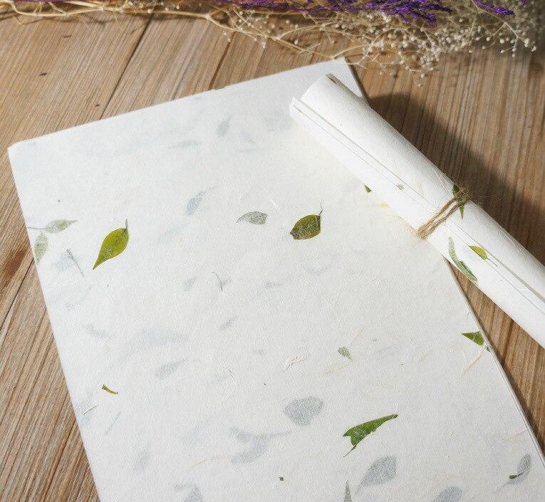Бумага для письма ручной работы с натуральным цветком и листьями в китайском античном стиле