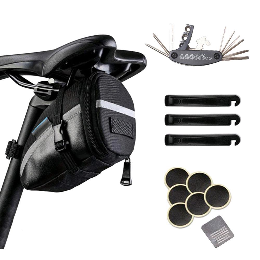 สีดำกระเป๋าจักรยานMTBเบาะที่นั่งจักรยานกระเป๋าจักรยานที่นั่งด้านหลังกระเป๋ากาวยางซ่อมเค...