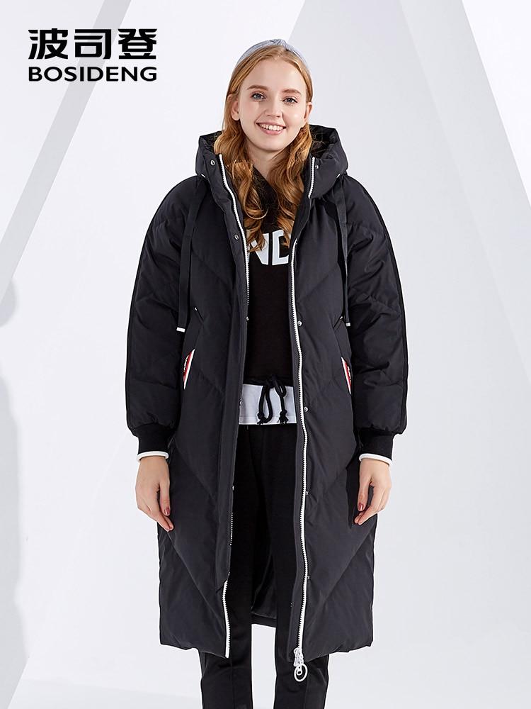 BOSIDENG winter thicken   down     coat   hooded long   down   jacket women parka waterproof high quality loose oversize B80142604DS