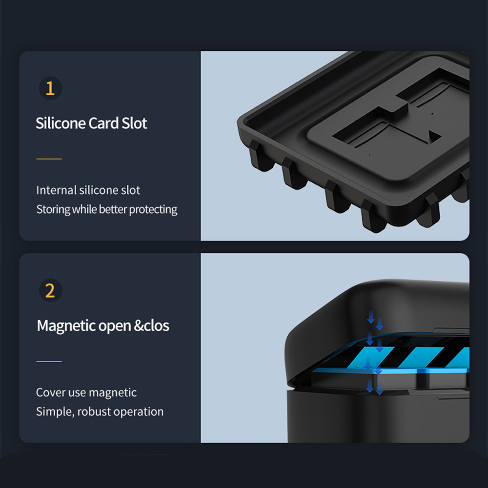TELESIN For GoPro 9 3 Ways LED Light Battery Charger TF Card Storage Charging Box For GoPro Hero 9 Black 5