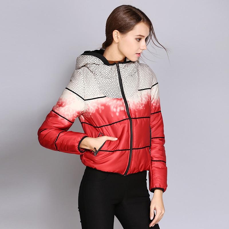 Color matching women   parkas   cotton designer short coats and jackets women winter 2019 wram hooded ladies black jacket new DR656