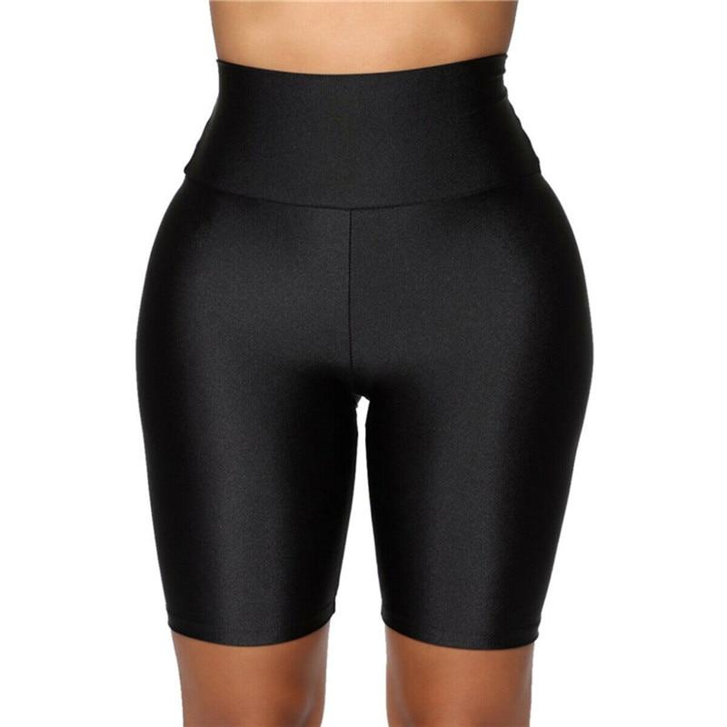 2020 New Women`s Cycling Shorts Stretch Plain Biker shorts Casual Sports Fitness Ladies Elastic Waist Leggings Slim Shorts (8)