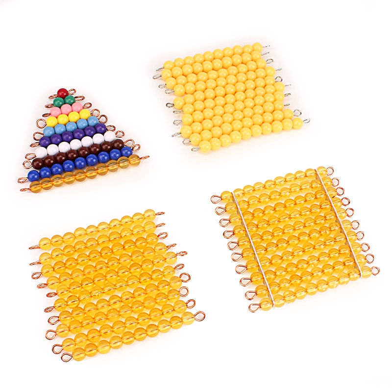Montessori Materials Math Toys Orange Golden Plastic Pearls Colorful Beads Stair Golden Beads Digital Number 1-10 Kids Preschool Counting  Math Toys For Children Mathematics Boys Girls
