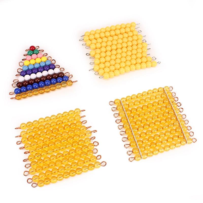 Materiais Montessori Matemática Brinquedos Laranja Dourada Contas de Pérolas De Plástico Contas Coloridas Da Escada de Ouro Número Digital 1-10 Kids Preschool contando Matemática Matemática Brinquedos para Crianças