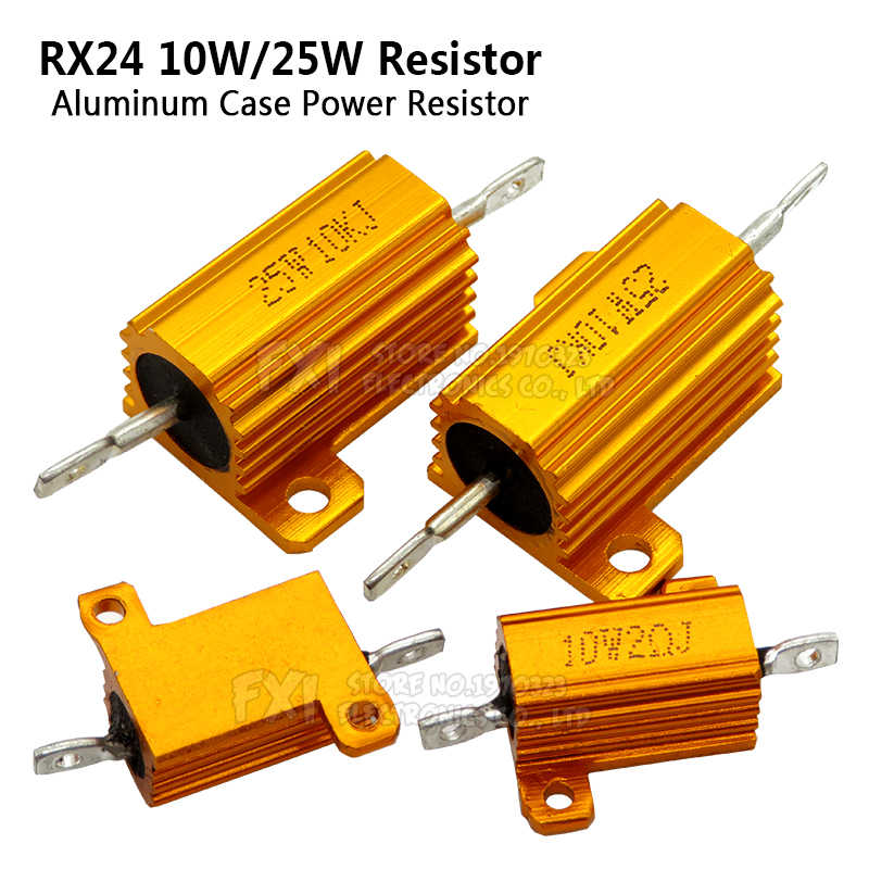 1PCS 10W 25W Aluminium Power Metal Shell Case Wirewound Resistor 0.01 ~ 30K 1 2 3 5 6 8 10 20 100 150 1K 10K Ohm Igmopnrq RX24