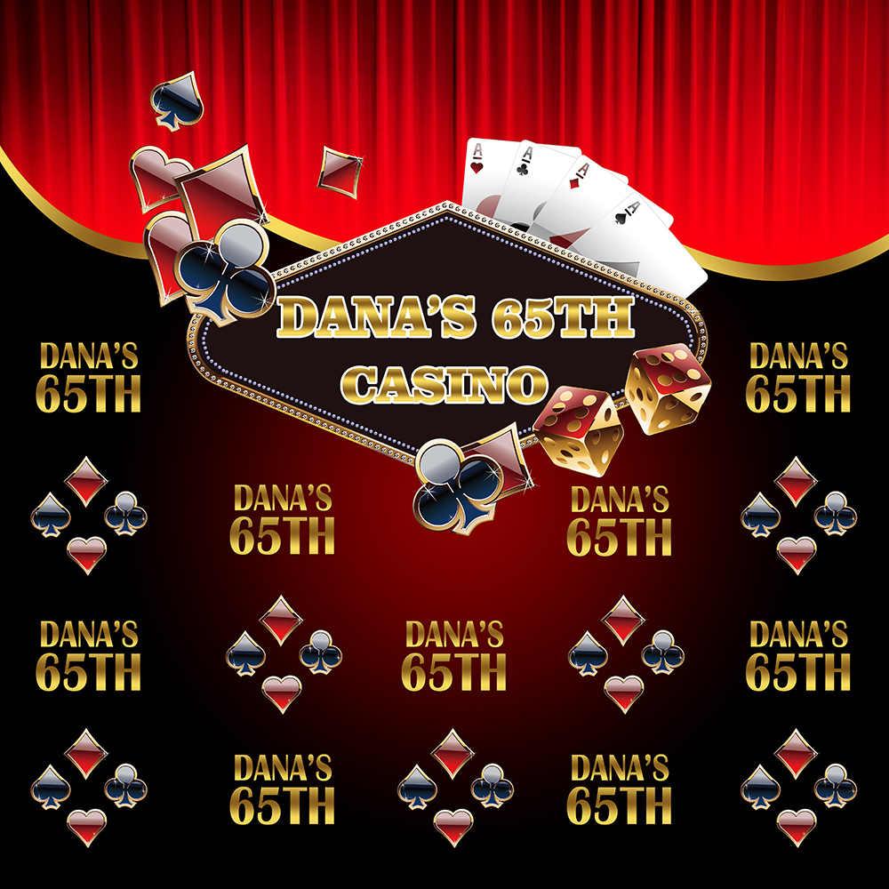 Neoback 65. Urodziny tło Poker krok i powtórz tło kasyno baner imprezowy dekoracja dorosły spersonalizowane zdjęcie Studio