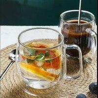 Dropshipping trasparente delle tazze di tè della tazza della bevanda sana resistente al calore delle tazze del cuore del caffè della birra della tazza di vetro a doppia parete 4pcs