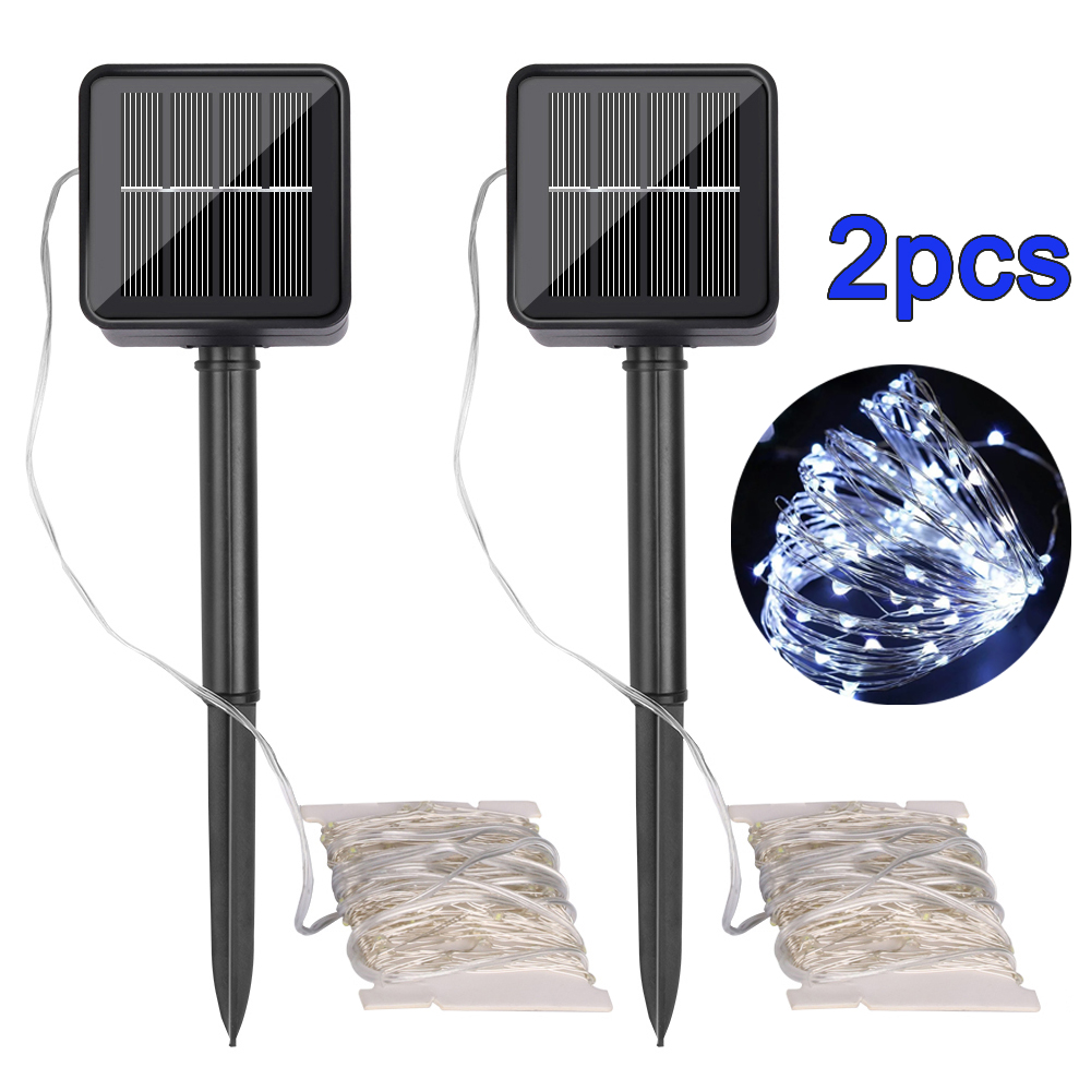 2Pcs 10m 100led Solar Led String Light Waterproof Cool White LED Solar Lamps Fairy Holiday Lighting Garden Light Party DIY Decor