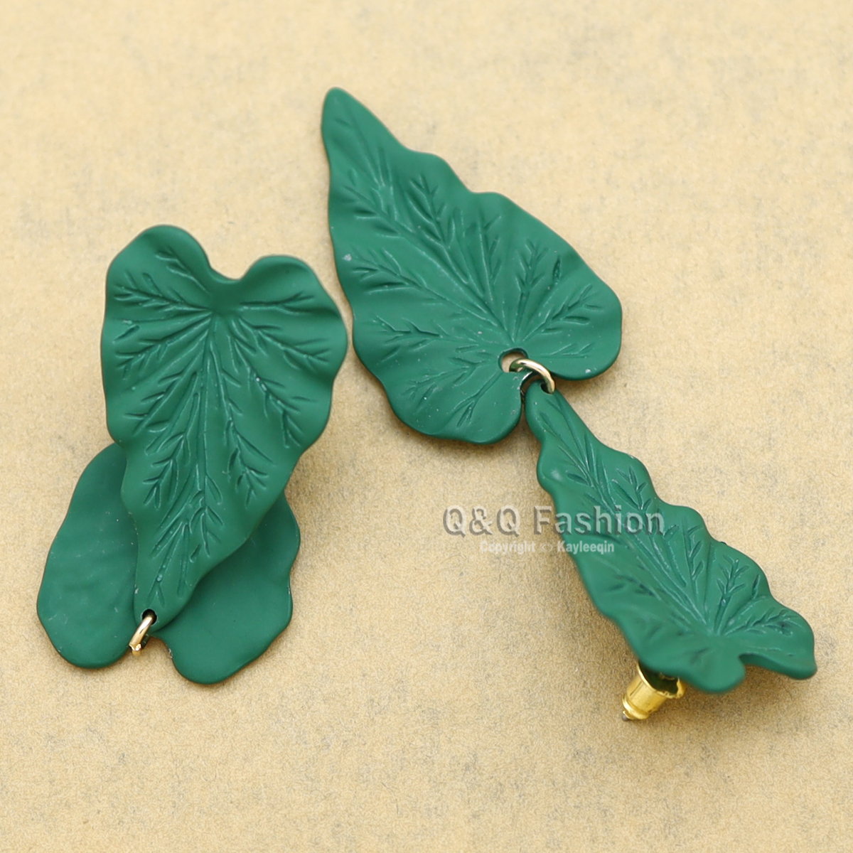 Green Enamel Leaf Forest Woodland Dangle Earrings Elf Fairy Witch Hippie Boho