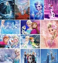 Disney congelado 2 diy pintura diamante dos desenhos animados ponto cruz cheia redondo diamante bordado gelo irmã elsa & anna diamante brinquedos