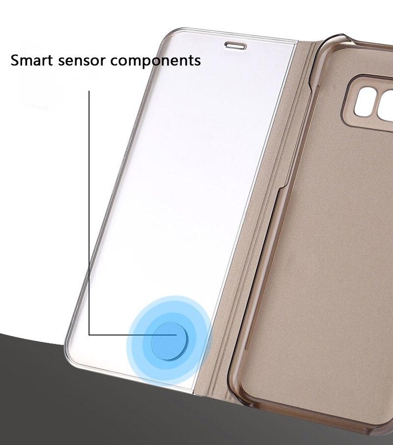 Funda con espejo transparente para Samsung Galaxy S8 SM-G9500 S8 + S8 Plus SM-G9550 s-view con soporte - 6
