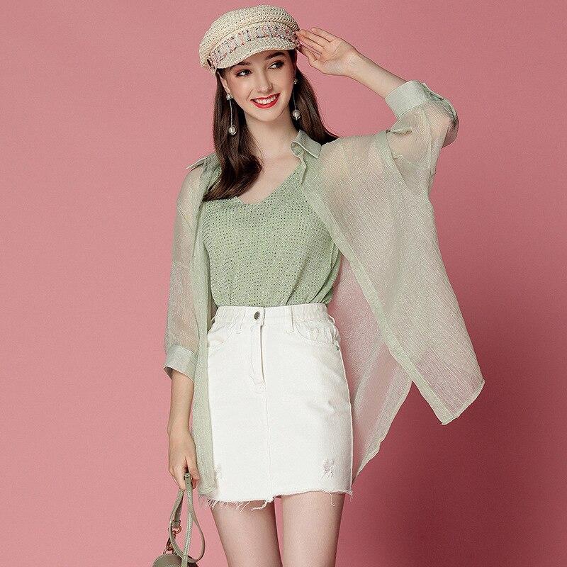 Short-height By Age Women's 2019 Summer Avocado Matcha Green Tops Shirt Camisole Denim Skirt Set Ozhouzhan