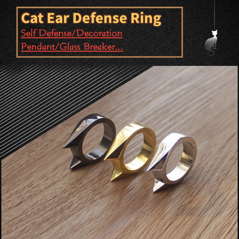 High Quality Pocket Gold Silver Black Anti-wolf Ring Glass Breaker Outdoor Hiking Self-defense Weapon Defensa Personal Tools