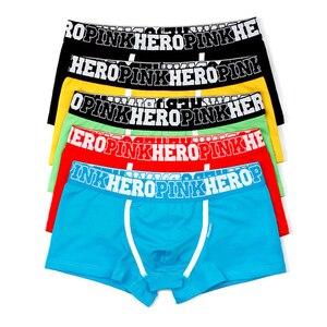 Image 1 - 5Pcs Pack/Lot Mens Boxer Pink Hero Cotton Underwear Pure Color Fashion Boxershort Sexy Shorts Man Plus Size Pouch Wholesale 14