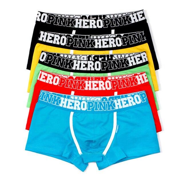 5Pcs Pack/Lot Mens Boxer Pink Hero Cotton Underwear Pure Color Fashion Boxershort Sexy Shorts Man Plus Size Pouch Wholesale 14
