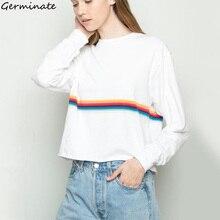 Rainbow Cropped Sweatshirt Women Autumn Winter Kawaii Cute Stripe Pullover Ariana Grande Kpop Blackpink Harajuku Sudadera Mujer