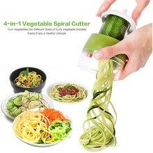 Handheld spiralizer descascador espiral de aço inoxidável slicer vegetal frutas slicer 4 em 1 ajustável espiral espaguete salada ferramentas