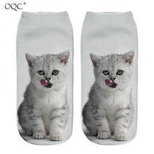 Cute Cat Printed Men Women Fashion Designed Ankle Socks Lovely 3D Cats Printing Adult Short Socks For Both Man And Woman D40