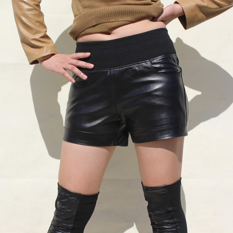 Top Quality Sheepskin Genuine Leather Shorts Pockets Elastic Mid Waist Straight Streetwear Pantalon Corto Mujer Plus Size 7XL