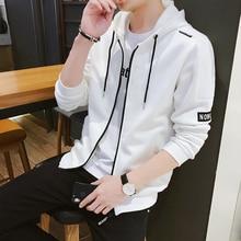 Korea Style White Sweatshirts Men Hoodies Argyle Hoodies Dress Hooded Homme Zipper Streetwear Hip Hop Clothing Male OverSize 4XL
