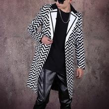 Printed Suit Stitching Mid-length Suit Style Coat Trendy Men Stylist Suit Long Jacket For Men Rear Middle Slit Long Men Jacket