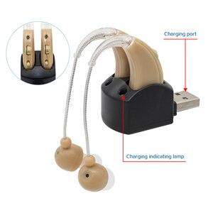 Пара перезаряжаемых беспроводных слуховых аппаратов, мини Ультра маленький Невидимый усилитель звука, регулируемый усилитель звука в ухо