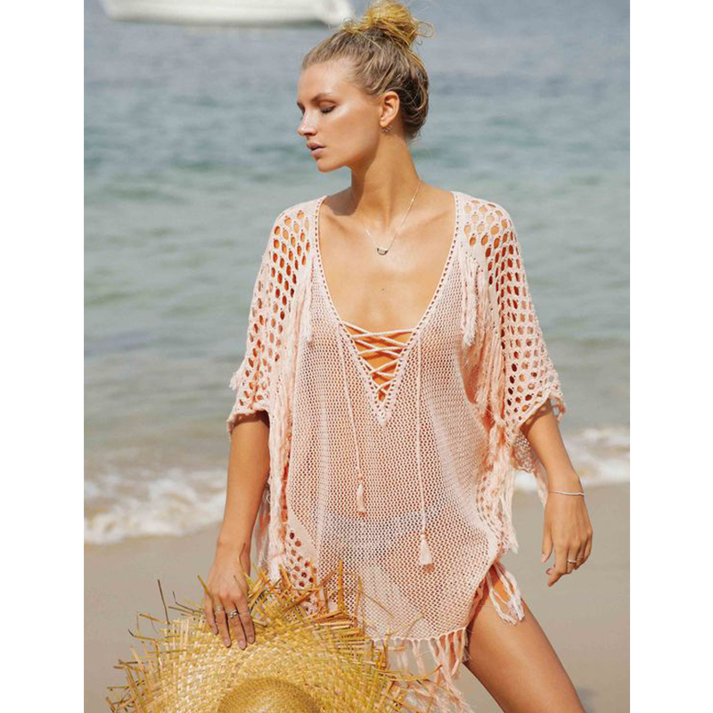 New Knitted Beach Cover Up Women Bikini Swimsuit Cover Up Hollow Out Beach Dress Tassel Tunics Bathing Suits Cover-Ups Beachwear 7