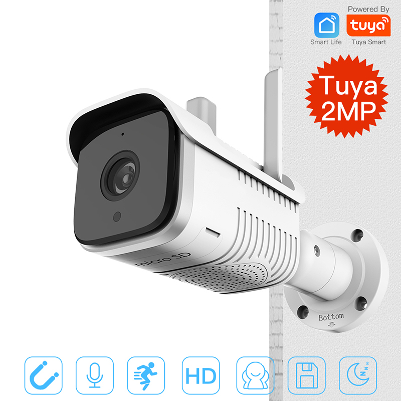 Tuya HD 1080P Smart Outdoor IP65 Waterproof WiFi Two-Way Audio Camera Network Night Vision Security <font><b>IP</b></font> Camera Work Alexa Echo image